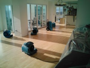 water damage restoration in san diego house with fans drying floor